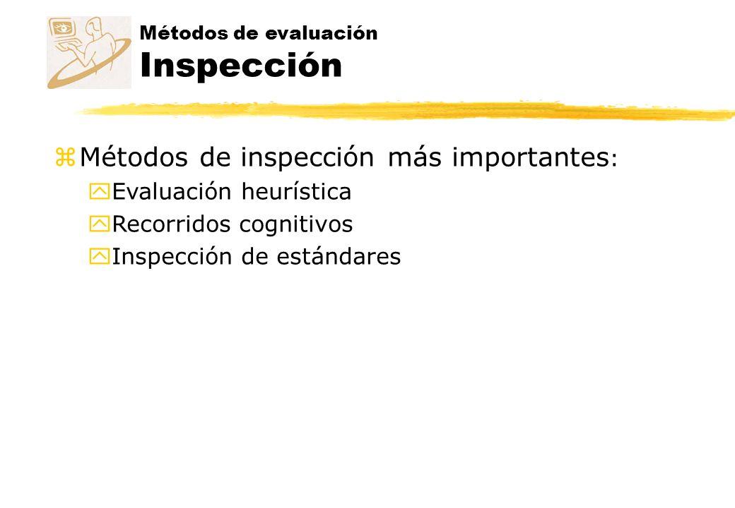 Métodos de inspección más importantes: