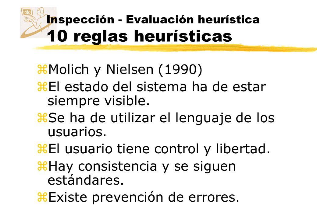 Inspección - Evaluación heurística 10 reglas heurísticas