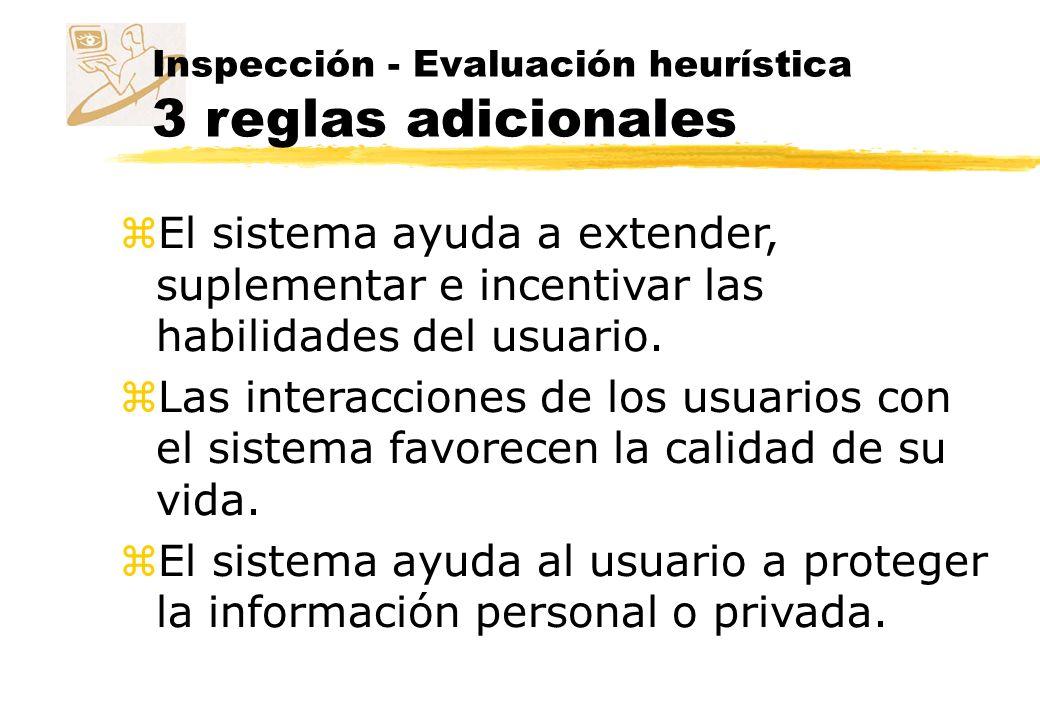 Inspección - Evaluación heurística 3 reglas adicionales