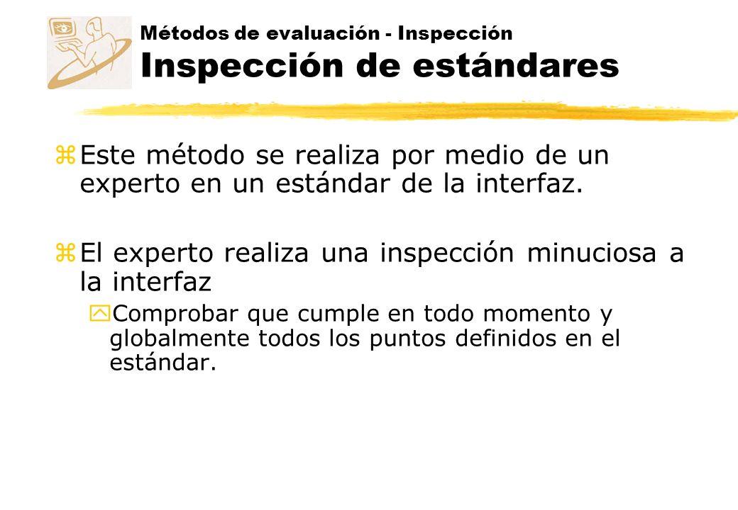 Métodos de evaluación - Inspección Inspección de estándares