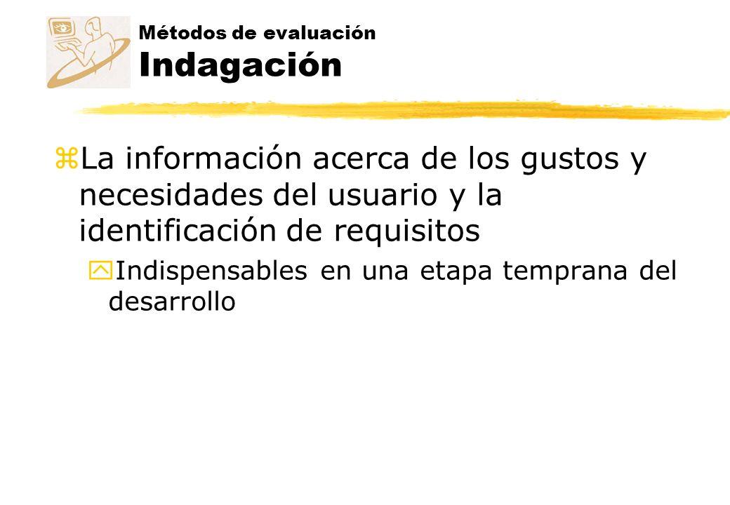 Métodos de evaluación Indagación