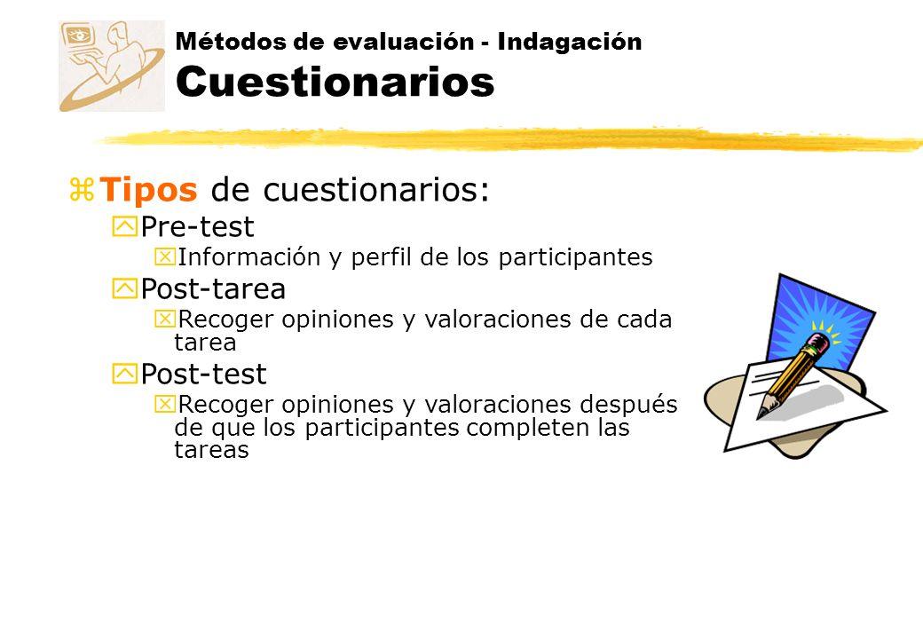 Tipos de cuestionarios: