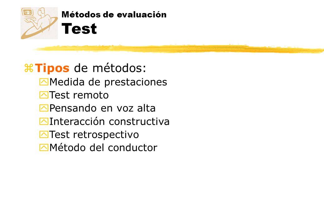 Tipos de métodos: Medida de prestaciones Test remoto