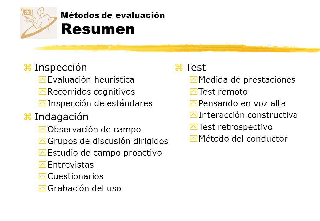Métodos de evaluación Resumen