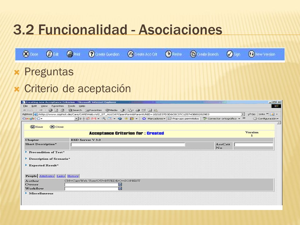 3.2 Funcionalidad - Asociaciones