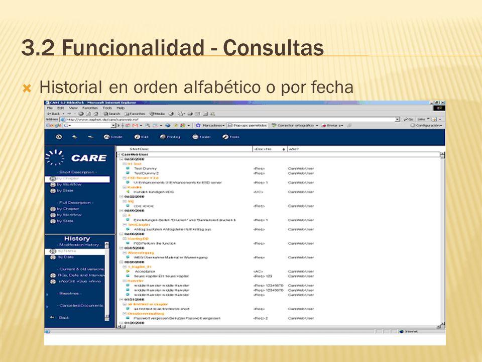 3.2 Funcionalidad - Consultas
