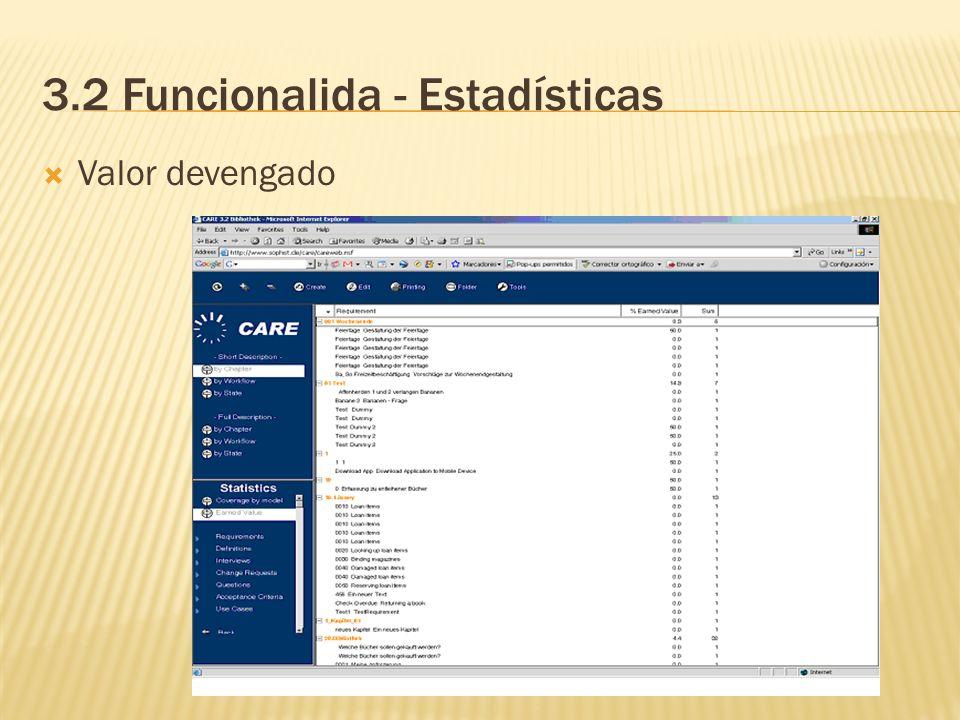 3.2 Funcionalida - Estadísticas