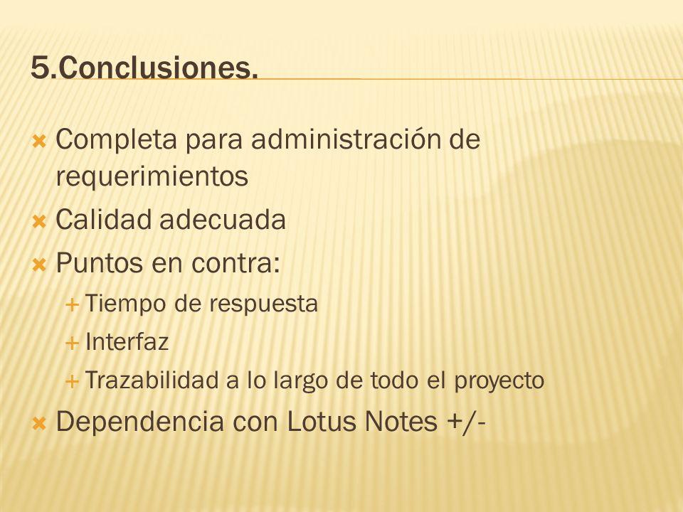 5.Conclusiones. Completa para administración de requerimientos