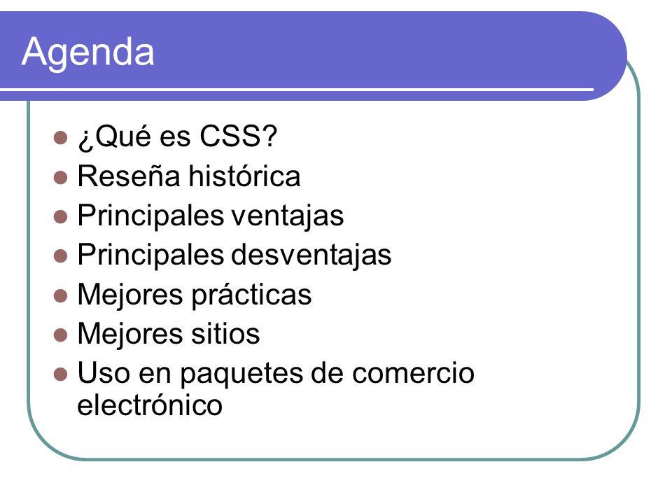 Agenda ¿Qué es CSS Reseña histórica Principales ventajas