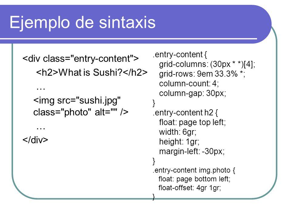 Ejemplo de sintaxis <div class= entry-content >