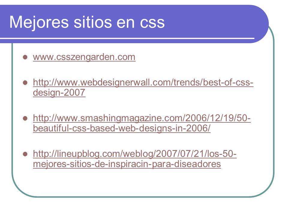 Mejores sitios en css www.csszengarden.com