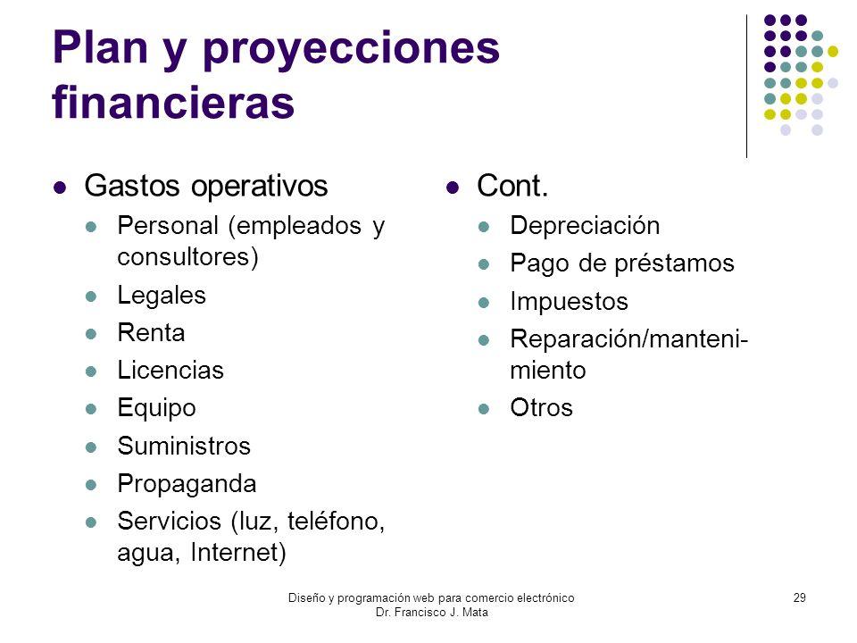 Plan y proyecciones financieras