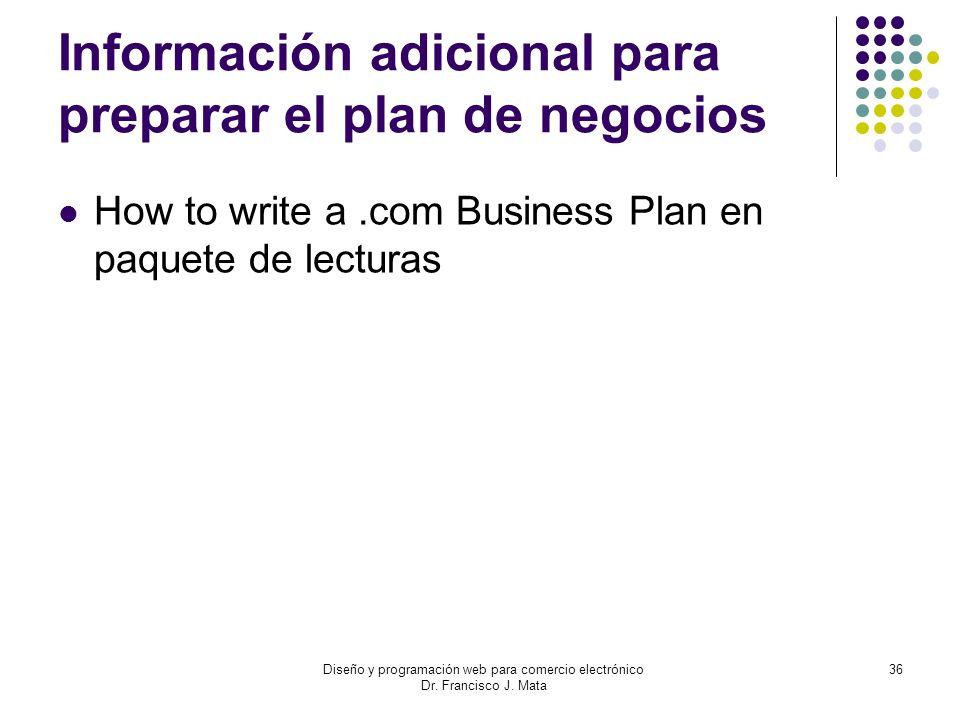 Información adicional para preparar el plan de negocios