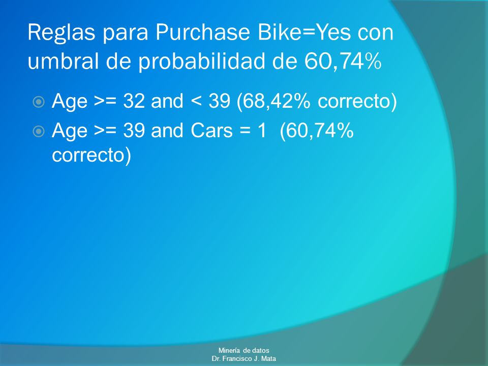 Reglas para Purchase Bike=Yes con umbral de probabilidad de 60,74%