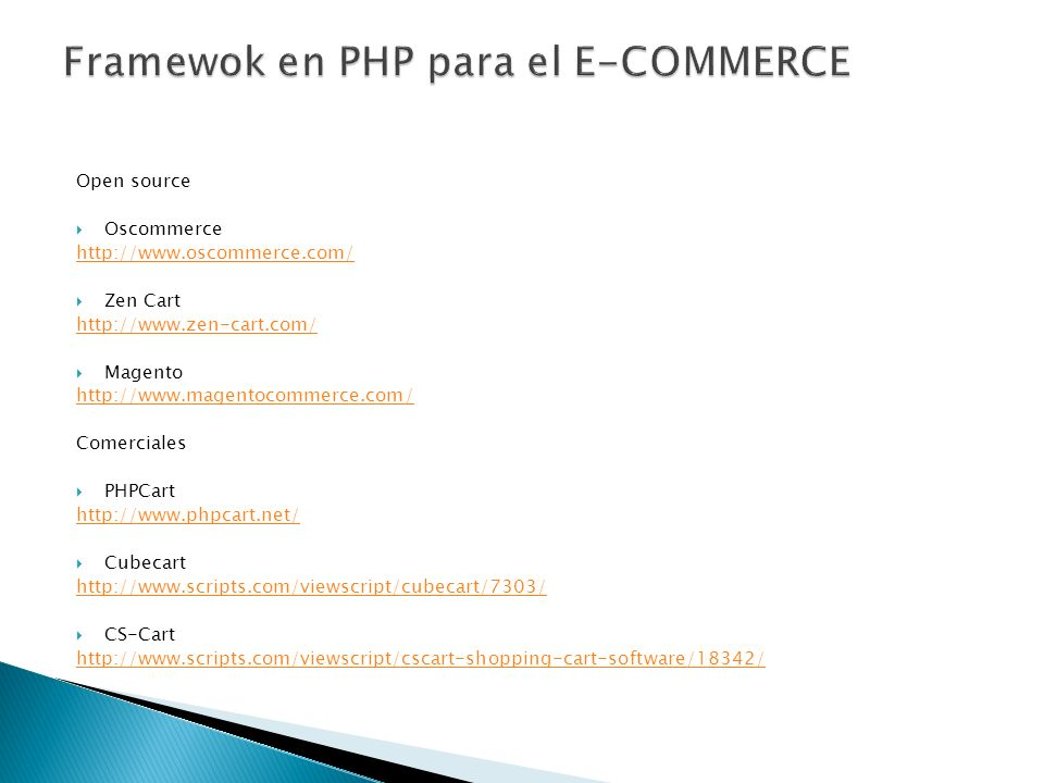 Framewok en PHP para el E-COMMERCE