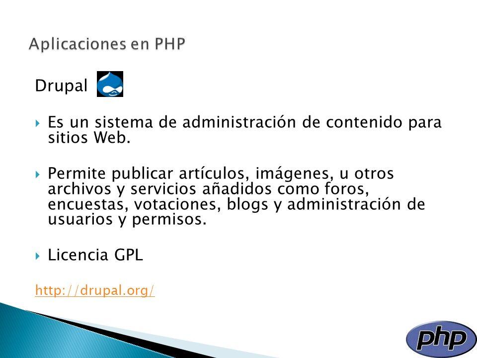 Aplicaciones en PHP Drupal
