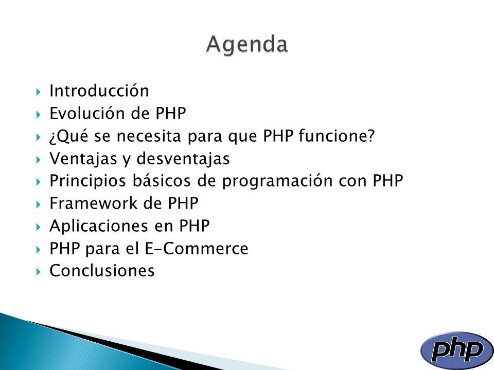 Agenda Introducción Evolución de PHP