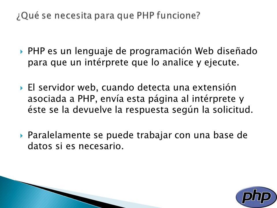 ¿Qué se necesita para que PHP funcione