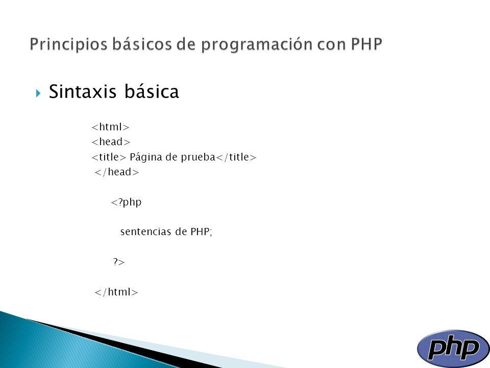 Principios básicos de programación con PHP