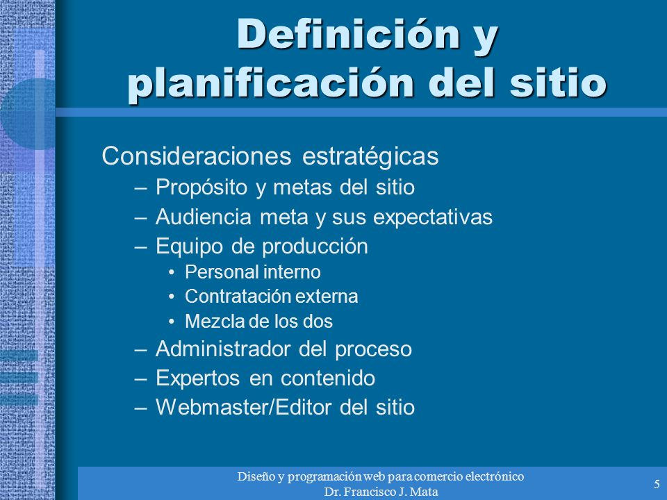 Definición y planificación del sitio