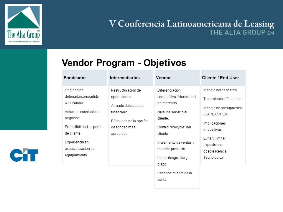 Vendor Program - Objetivos