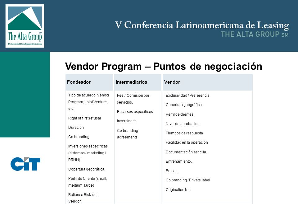 Vendor Program – Puntos de negociación