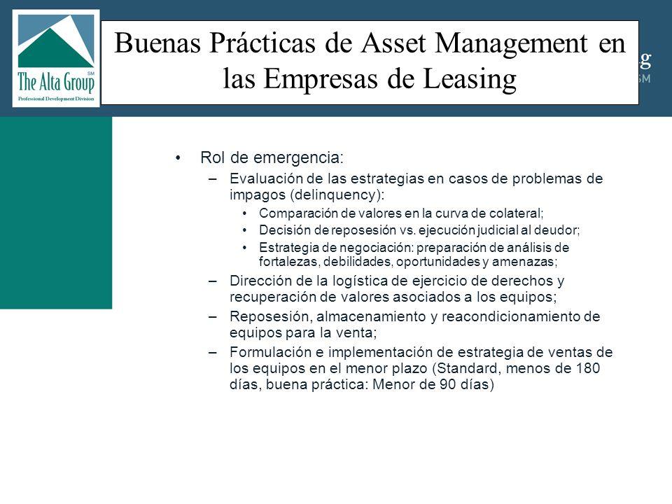 Buenas Prácticas de Asset Management en las Empresas de Leasing