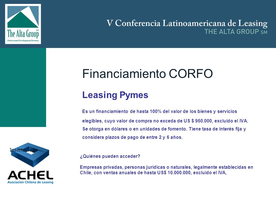 Financiamiento CORFO Leasing Pymes