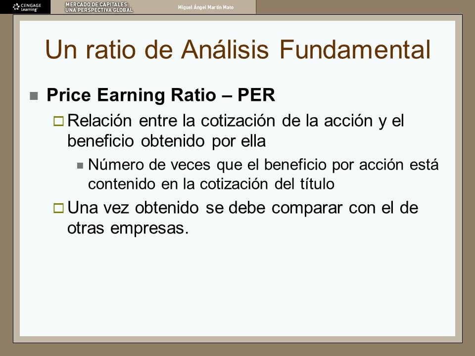 Un ratio de Análisis Fundamental