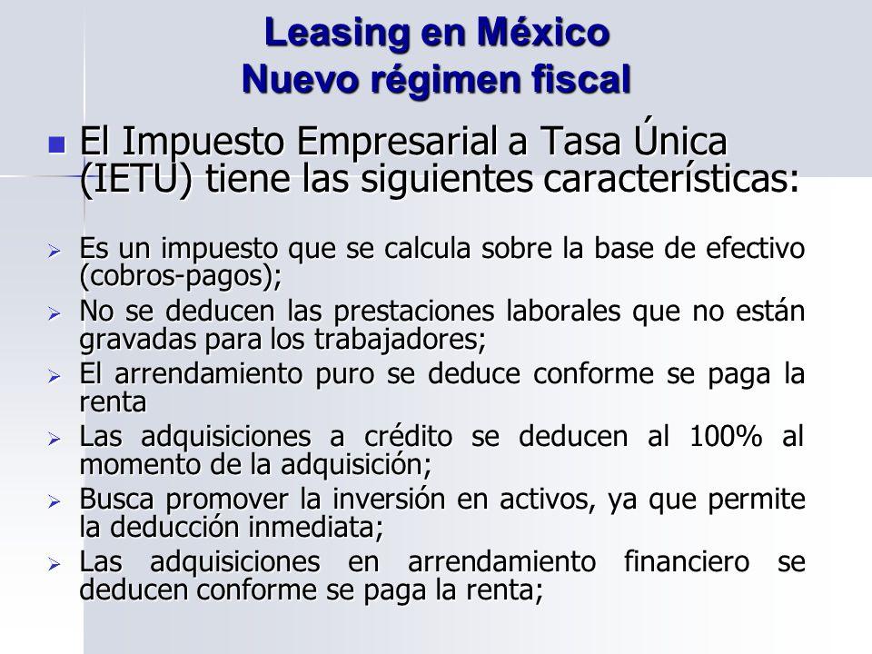 Leasing en México Nuevo régimen fiscal
