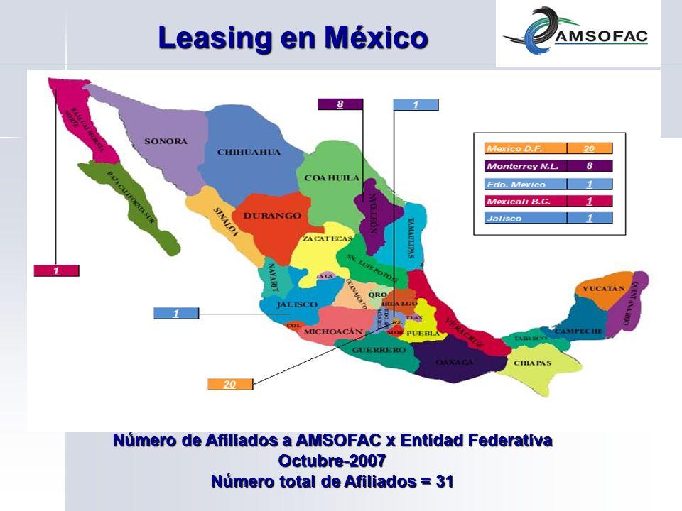 Leasing en México Número de Afiliados a AMSOFAC x Entidad Federativa