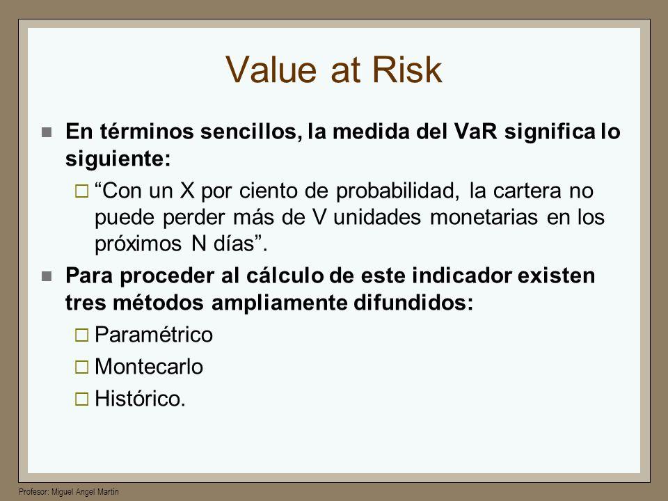 Value at Risk En términos sencillos, la medida del VaR significa lo siguiente: