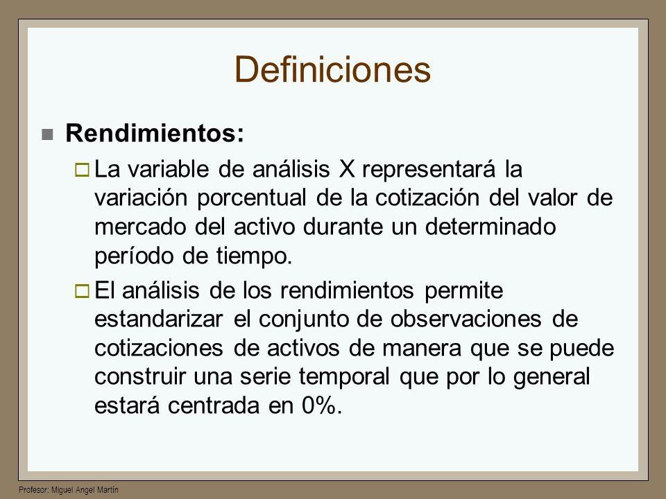 Definiciones Rendimientos: