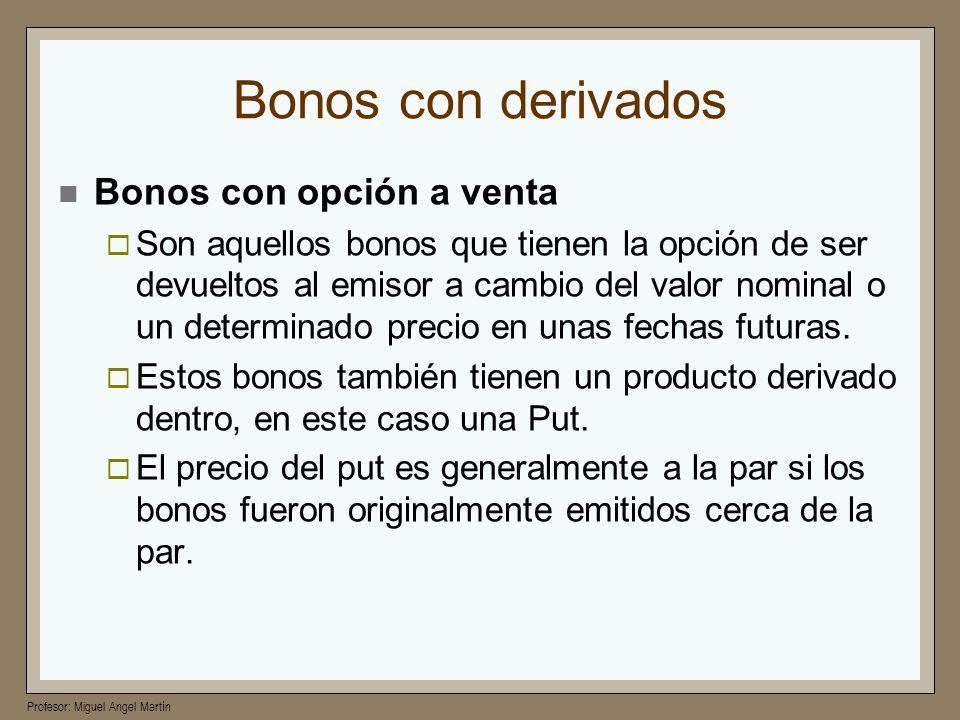 Bonos con derivados Bonos con opción a venta