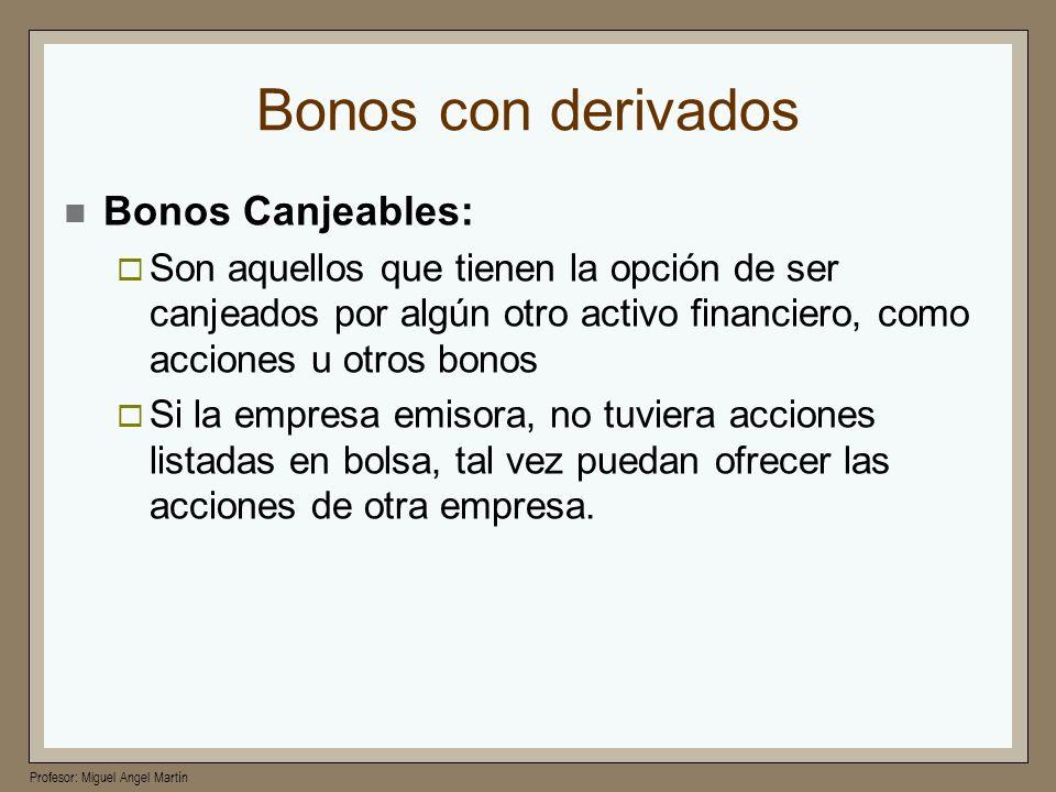 Bonos con derivados Bonos Canjeables: