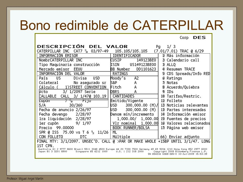 Bono redimible de CATERPILLAR