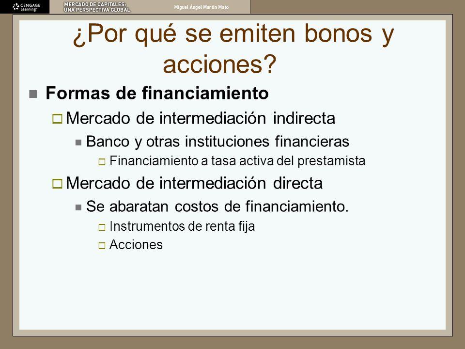 ¿Por qué se emiten bonos y acciones