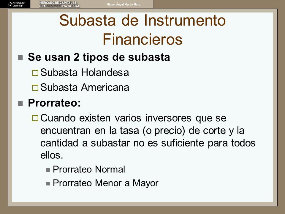 Subasta de Instrumento Financieros