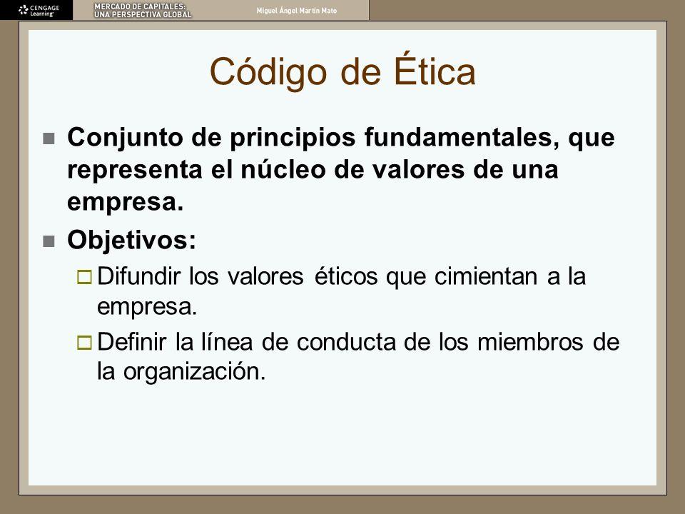 Código de Ética Conjunto de principios fundamentales, que representa el núcleo de valores de una empresa.