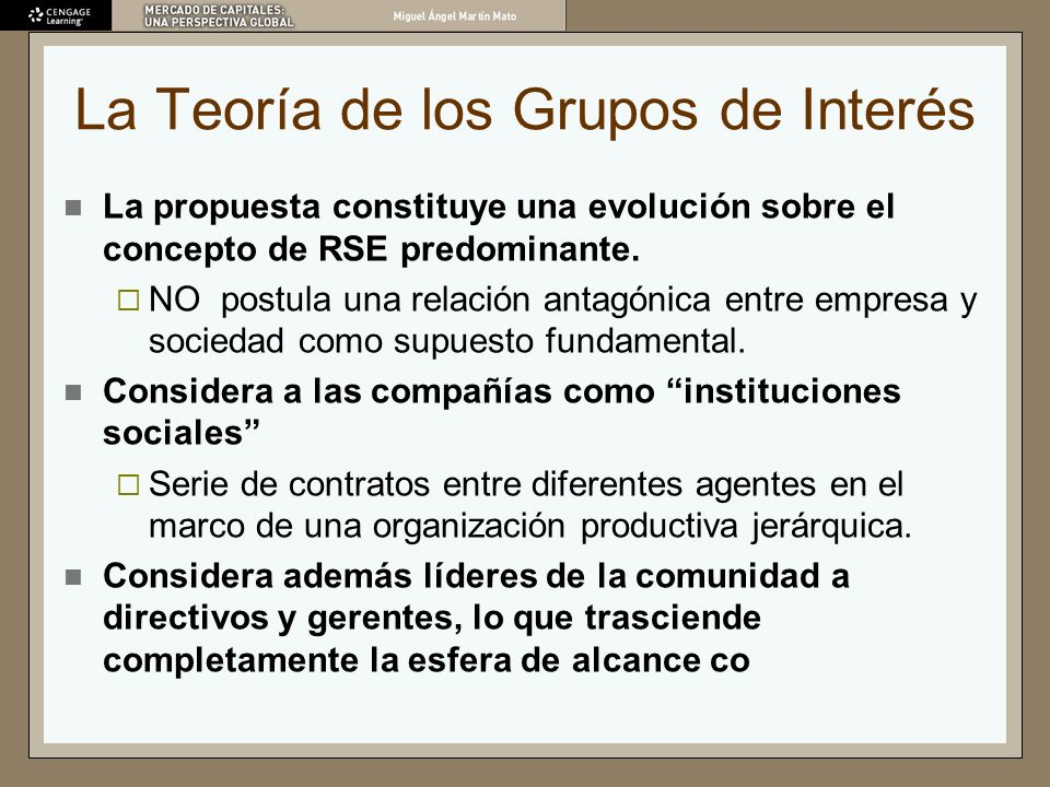 La Teoría de los Grupos de Interés