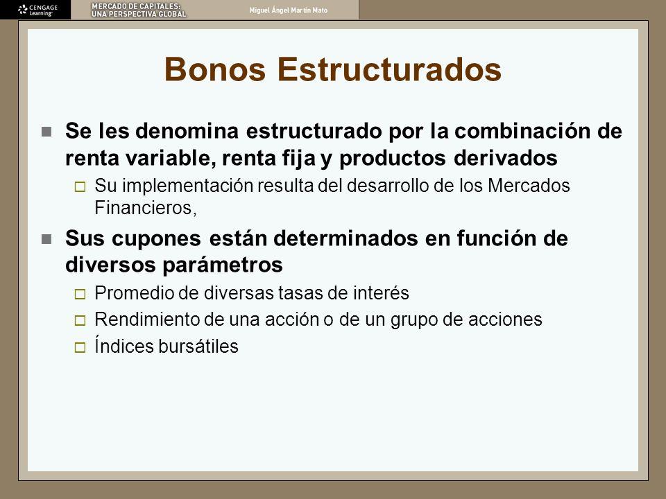Bonos Estructurados Se les denomina estructurado por la combinación de renta variable, renta fija y productos derivados.