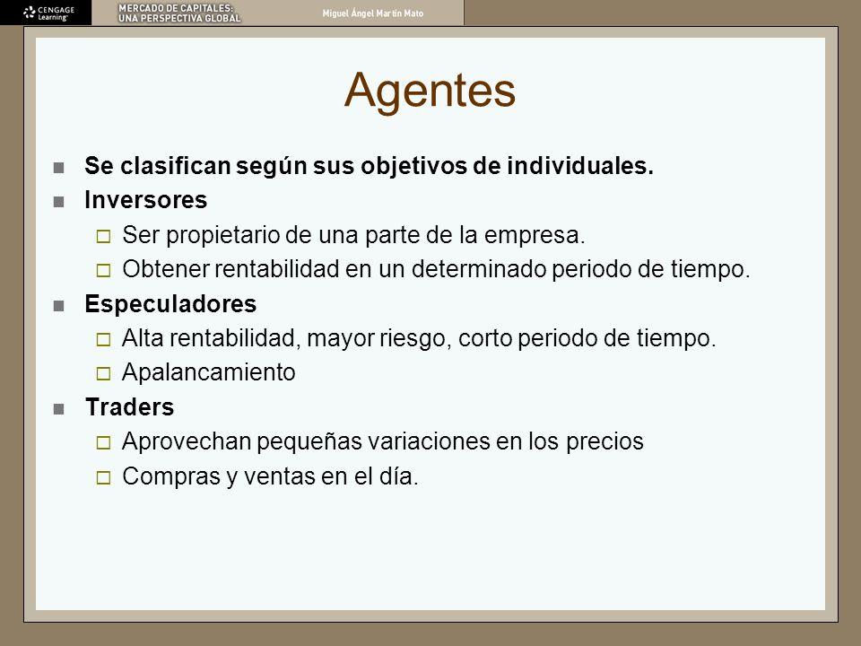 Agentes Se clasifican según sus objetivos de individuales. Inversores