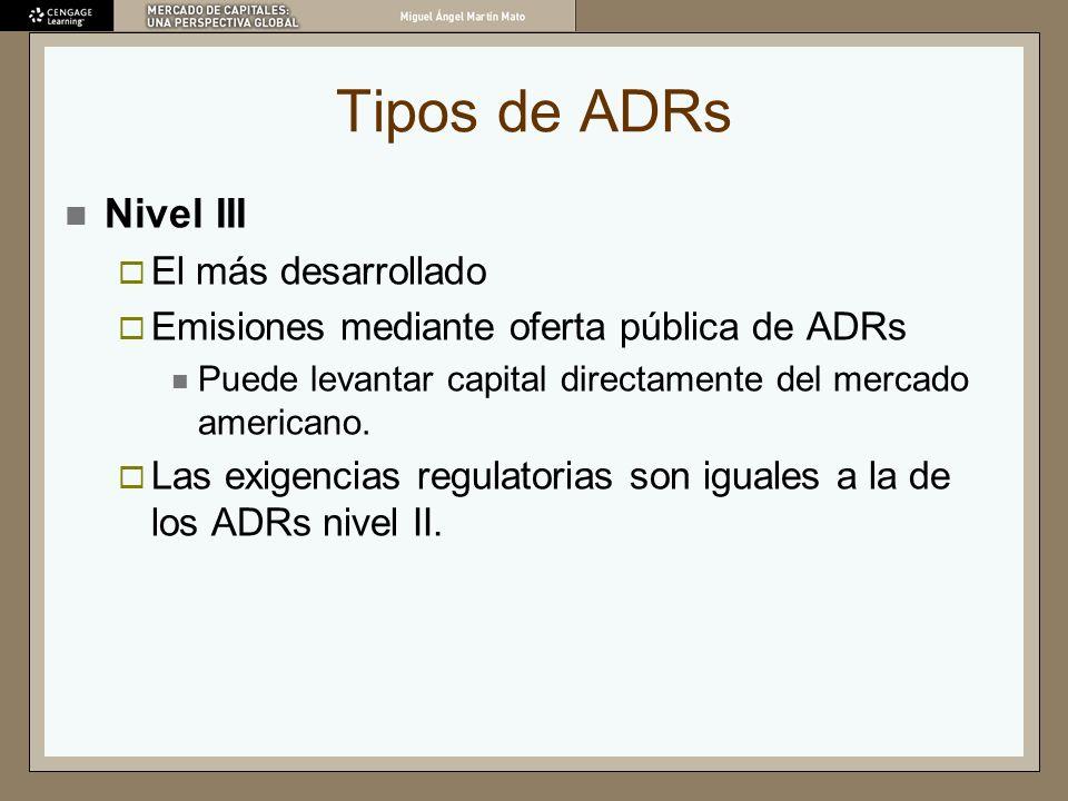 Tipos de ADRs Nivel III El más desarrollado