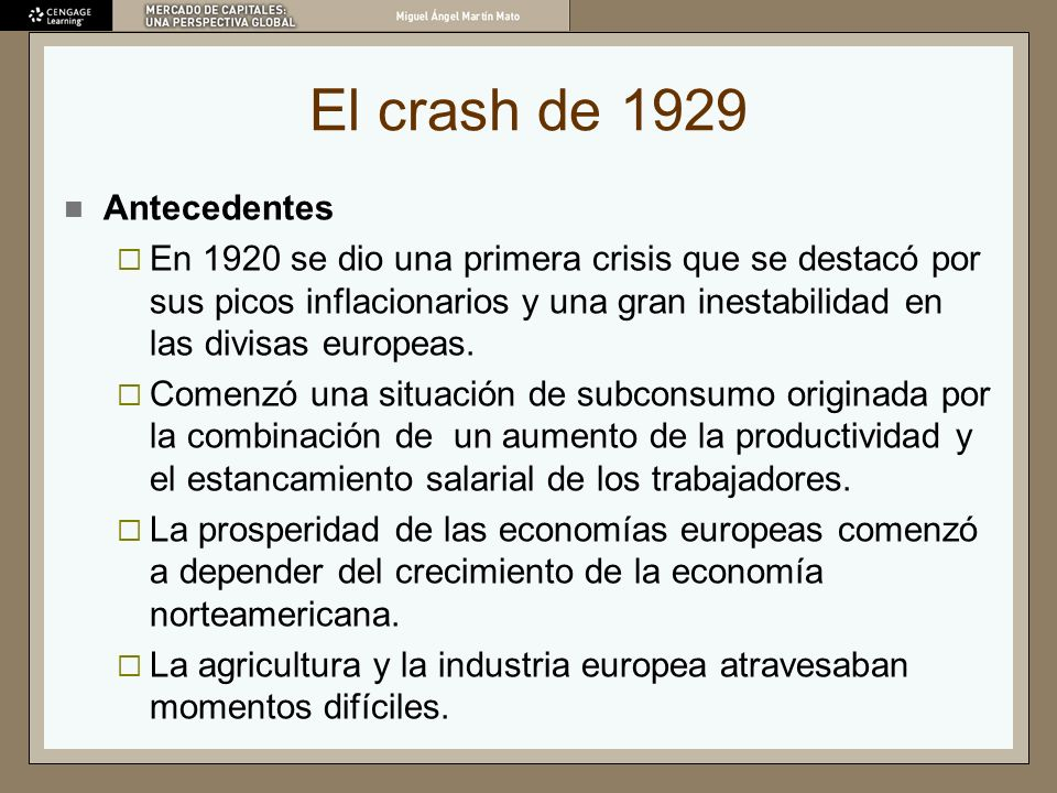 El crash de 1929 Antecedentes