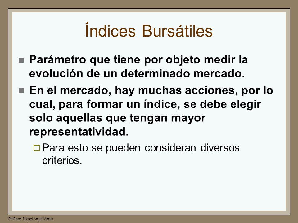 Índices BursátilesParámetro que tiene por objeto medir la evolución de un determinado mercado.