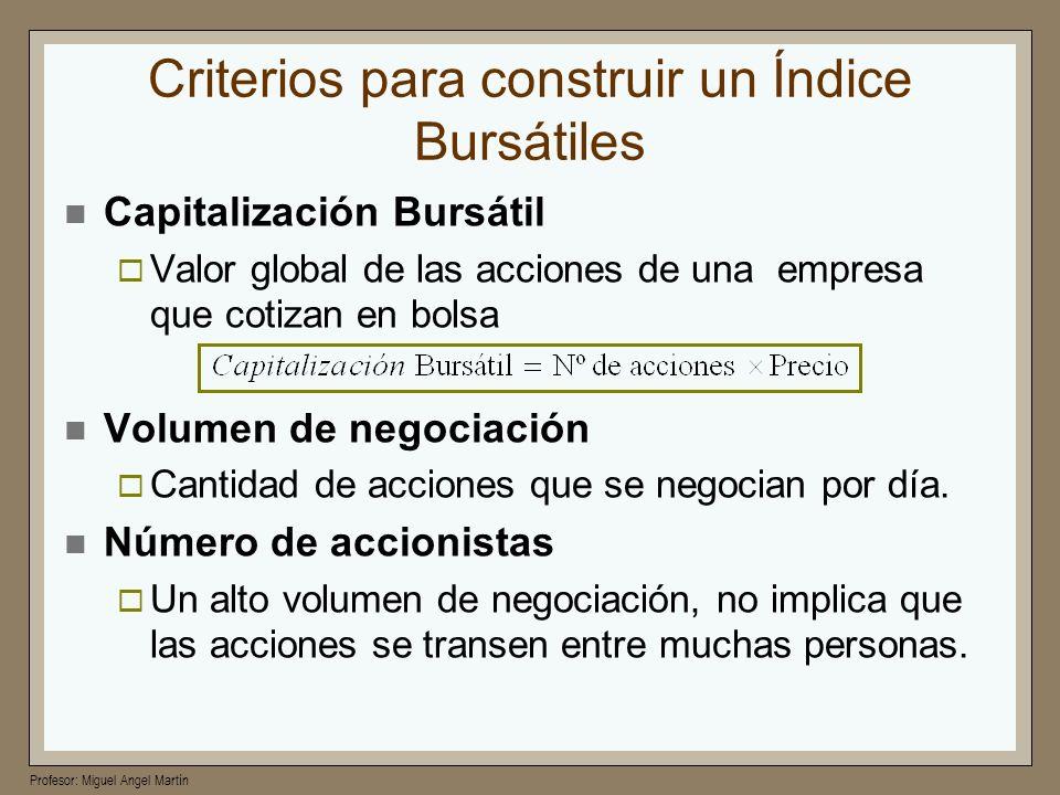Criterios para construir un Índice Bursátiles