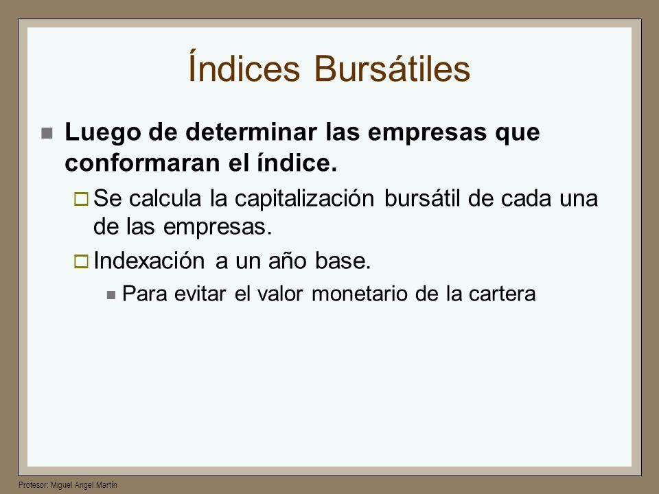 Índices Bursátiles Luego de determinar las empresas que conformaran el índice. Se calcula la capitalización bursátil de cada una de las empresas.