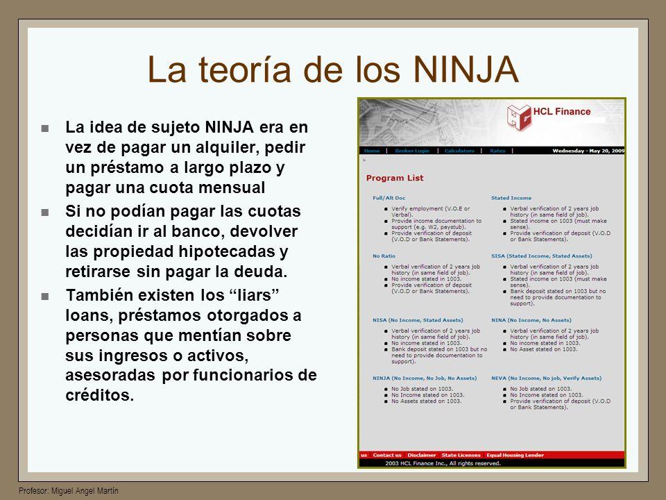 La teoría de los NINJALa idea de sujeto NINJA era en vez de pagar un alquiler, pedir un préstamo a largo plazo y pagar una cuota mensual.