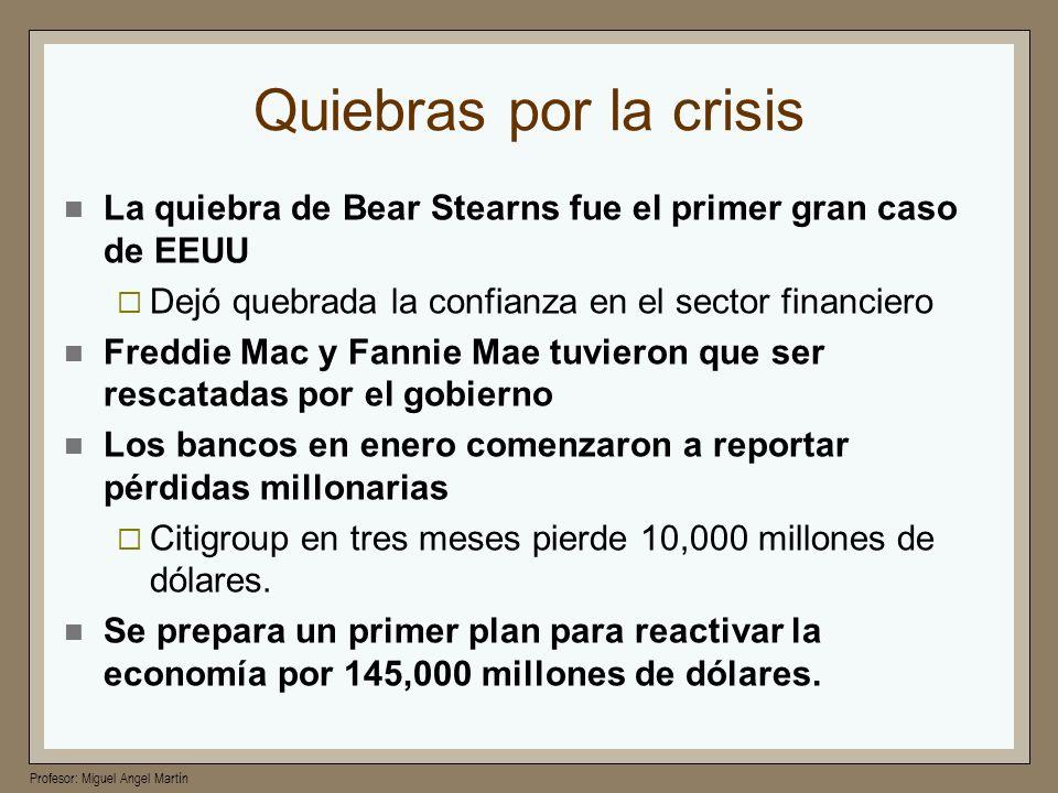 Quiebras por la crisis La quiebra de Bear Stearns fue el primer gran caso de EEUU. Dejó quebrada la confianza en el sector financiero.