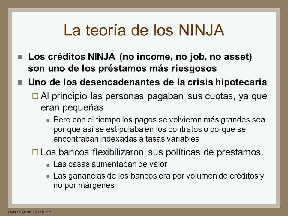 La teoría de los NINJALos créditos NINJA (no income, no job, no asset) son uno de los préstamos más riesgosos.